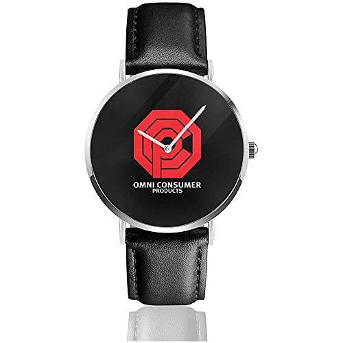 Unisex Business Casual Omni Konsumgüter Robocop,Trucker Cap Uhren Quarz Lederuhr mit schwarzem Lederband für Männer Frauen