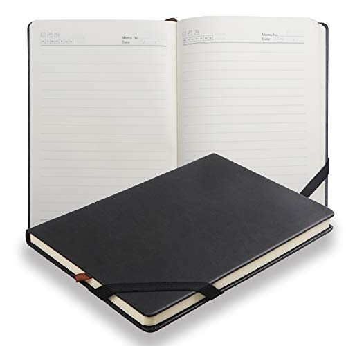 Cuaderno de Tapa Dura con Forro Clásico, papel grueso prima con una fina bolsillo interior, cuero sintético suave negro (Negro)