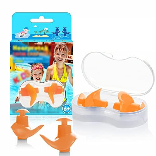 Hearprotek Tappi per Le Orecchie da Nuoto per Bambini, 2 Paia di Tappi Auricolari in Silicone riutilizzabili per nuotatori, Bagno, Doccia e Altri Sport Acquatici (Arancione)