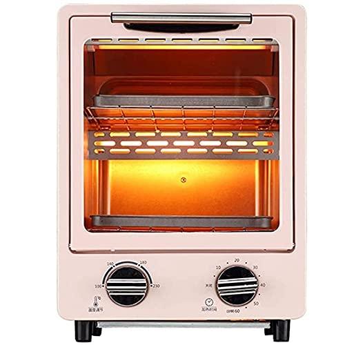 Dpliu 12L Horno eléctrico, tostadora Mini Pequeña encimera automática Tres Tubos Calefacción de Tres Tubos Y 1100W Capacidad de Potencia Halógena Halógena Aire Freidora (Color : Pink)