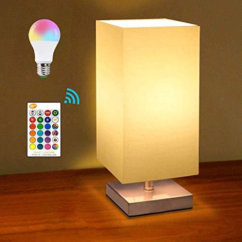E27 LED Nachttischlampe Dimmbar mit Fernbedienung, Retro Lampenschirm Tischleuchte mit Fassung & Kabel, KWODE Tischlampe Stoffschirm für für Schlafzimmer, Wohnzimmer, Hotel, Café
