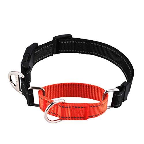 PETTOM Martingal Halsbänder Reflektierend Halsband Nylon Material Verstellbar und Langlebig Gut fürs Training (M(L:40-50cm))