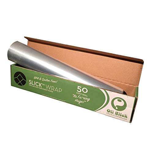 "Oil Slick Wrap Foil Backed Parchment Paper 12""x600"" Alternative to Martha Wrap or Reynolds Pan Lining"