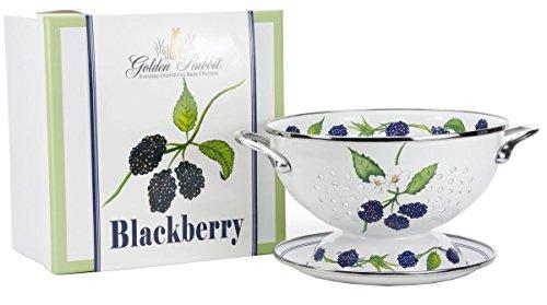 Golden Rabbit Enamelware - BlackBerry Pattern - 1 Quart Colander with 8 Matching Drain Plate