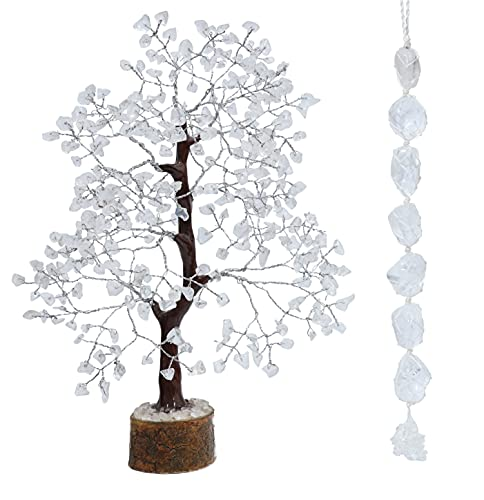 FASHIONZAADI Clear Quartz Gemstone Tree with Tumbled Stone Window Car Hanging Ornament Reiki Healing Crystal Money Trees Feng Shui Gift Handmade Crystals House Décor Best Gift Set (Silver Wire Tree)
