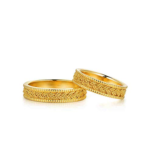 Amody Wedding Bands Sets for Him and Her 18K Yellow Gold Twisted Deisgn Gold Wedding Rings for Bride and Groom Women Size X 1/2 & Men Size T 1/2
