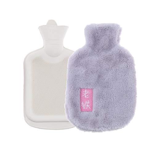 25x15cm 1L Wärmflasche Kinderwärmflasche mit abnehmbarer Plüsch Schutzhülle - Hellgrau