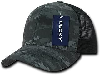 DECKY Men's Camo Curved Bill Rear Mesh Trucker Snapback Cap