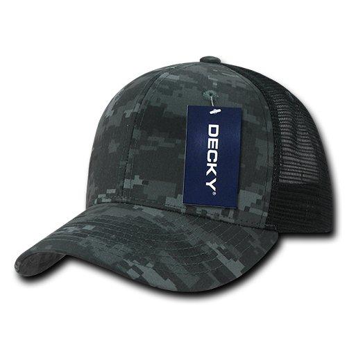 DECKY Camo Flat Bill Trucker Caps, Night/Black
