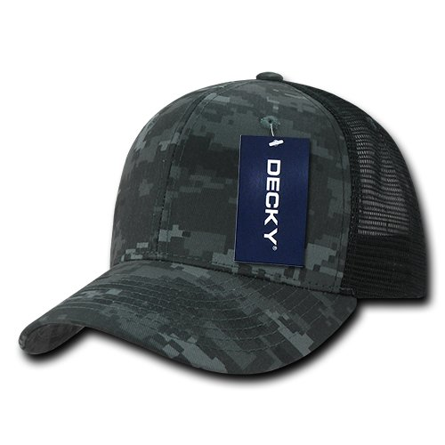 DECKY Camo Flat Bill Trucker Caps, Night/Black