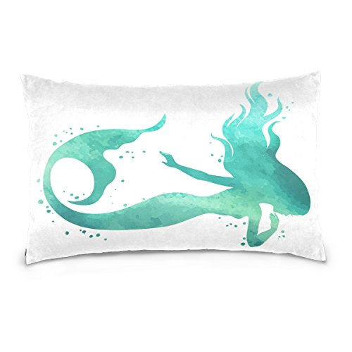 ALAZA Watercolor Mermaid Sea Animal Cotton Standard Size Pillowcase 26 X 20 Inches Twin Sides, Ocean Creature Marine Pillow Case Sham Cover Protector Decorative for Couch Ded