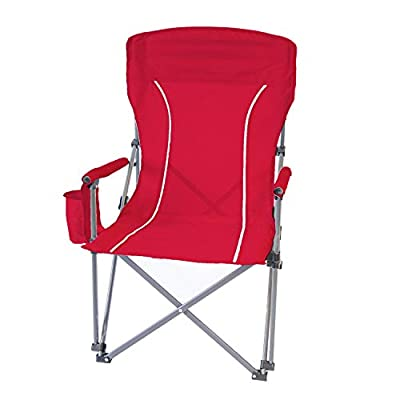 Folding Hard Arm Chair Padded Core Carry Outdoor Camping Furniture (Tailgating Red)