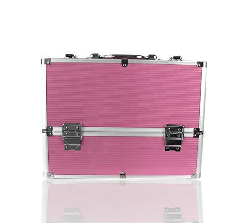 POINSETTIA Alu Kosmetikkoffer Werkzeugkoffer Schminkkoffer 36,5x22x27cm Pink