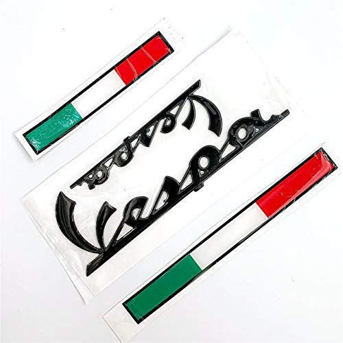 Oneriverspring40 3D Italian-Abzeichen-Emblem-Aufkleber-Abziehbild-Kit for Vespa GTS300 LX125 LX150 125 150 Ie Sprint Primavera 300 LX LXV Aufkleber (Color : Black Kit)