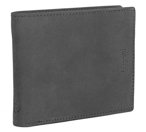 BUGATTI Echtleder Herren Portemonnaie im Querformat, Hochwertige Brieftasche mit Klappfach aus echtem Leder (Schwarz)