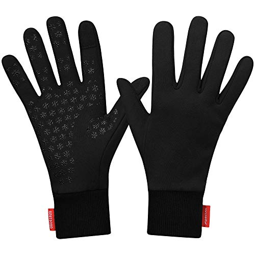 Forhaha Waterproof Splash-Resistant Sports Running Gloves - Touch Screen Lightweight Liner Gloves for Running, Walking, Cycling, Working - Outdoor for Men Women in Winter Or Fall, Black, S