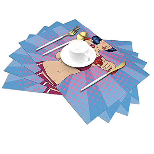 Set of 1 PVC Kitchen Table Place Mats,Figure Doing Exercises with Non-Slip and Washable,Ecological,Ideal for The Kitchen Resistant Table Placemats
