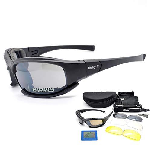 Daisy X7 polarized Sunglasses Tactical eyewear 4LS Mens Military Bullet-proof airsoft shooting Gafas UV400 smoke lens Motorcycle Bike Cycling Goggles (Polarized)