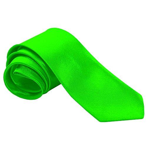 tumundo 1 Krawatte Tie Breit für Hemd Anzug Schlips Binder Mode Business Hochzeit Fasching Herrenschmuck + Anleitung Geschenkbox, Farbe:neongrün