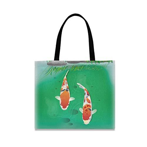XiangHeFu boodschappentas herbruikbare mode handtas vijver vis grote capaciteit voedsel nonchalant