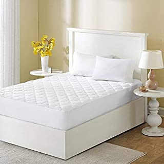 Sleep Philosophy Wonder Wool Mattress Cover 100 Percent Cotton Bed pad Queen White