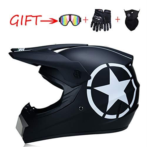 SanQing Motocross Helmet ATV Motorcycle Helmet SUV Mask + Goggles + Gloves,Men Women Personality Trend Dirt Bike Downhill Off-Road Mountain Bike Helmet 4-Piece Set,13,XL