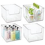 mDesign Juego de 4 cajas organizadoras para el baño – Caja de plástico cuadrada para artículos de baño – Organizador de armarios ideal para cosméticos y maquillaje – transparente