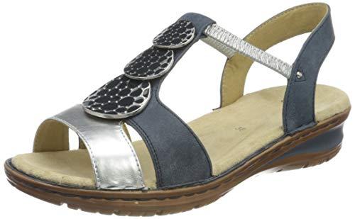 ara Women's Slingback Flat Sandal, Grey Silber Denim 78, 7.5-8