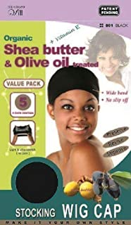 [The #1 Brand QFitt] Organic Shea Butter & Olive oil treated Stocking WIG CAP (Value Pack!!! 5 Caps Contain)