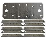 Plaque de jonction plate en tôle d'acier galvanisée très résistante 140 x 55 x 2mm Lot de 10