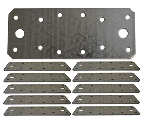 Flat Connecting Joining Plate Galvanised Heavy Duty Metal Steel Sheet 5.51'x 2.17'x 0.08' (140 x 55 x 2mm) Pack of 10pcs