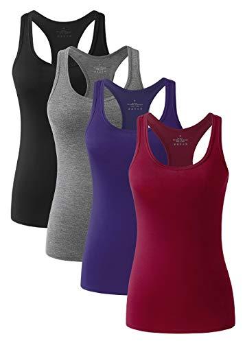 vislivin Workout Tanktops für Damen Racerback Yoga Tanks Basic Sportliche Activewear-4er Pack Schwarz/Dunkelgrau/Dunkelblau/Weinrot M