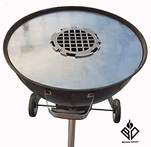 Becker Design 6mm Feuerplatte | Plancha | Grillplatte für 57 cm Kugelgrill + Branding Grillrost