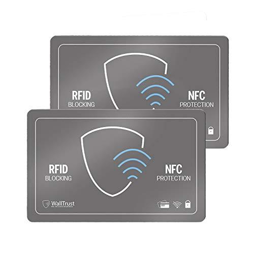 WallTrust RFID NFC Schutzkarte, Blockerkarte für Kreditkarten, 2er Set, Grau
