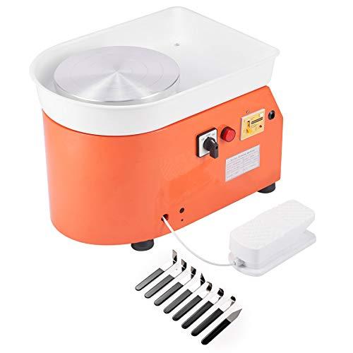 CO-Z 25CM 250W Máquina de Rueda de Cerámica Profesional Rueda de Cerámica Eléctrica 300 RPM con Kit de Cerámica de 8 Piezas Torno de Alfarero con Control de Pie para Niños y Adultos (control de pie)