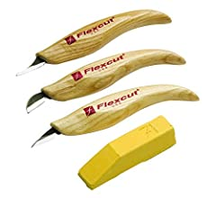 Set of three fine detail knives Perfect for carving the smallest details Includes a bar of Flexcut Gold polishing compound Razor-sharp hard carbon steel blade is ready to use right out of the package Made in the USA