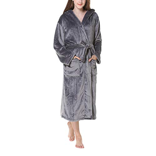 HONGBI Damen Morgenmantel Damen Kleider Plüsch Robe Kapuze Super Soft Touch Fleece Mit Kapuze Bademäntel für Winter Grau XL