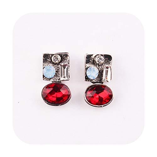 Kashino Pendientes de tuerca de piedra de ópalo de cristal de la moda de las mujeres pendientes de fiesta de Navidad 2018 marca elegante pendientes de cristal para las mujeres regalo rojo-