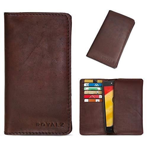 ROYALZ Lederhülle für Motorola Moto C | Moto C Plus Schutztasche Ledertasche Tasche Cover Etui Brieftasche Portemonnaie Kartenfach Hülle Vintage Retro Leder, Farbe:Braun