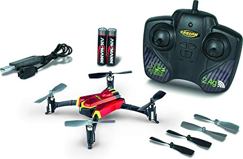 CARSON 500507131 - X4 Quadcopter 150 Sport 2.4G 100% RTF Rot, Ferngesteuerte Flugmodelle, Flugfertiges Modell, LED, mit Stuntfunktion, inkl. Batterien und 2,4 GHz Fernsteuerung, 100% flugfertig