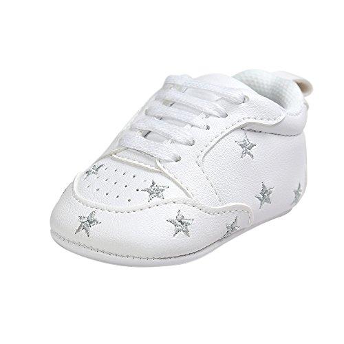 ESTAMICO Kleinkind Baby Jungen Weiche Leder weiße Turnschuhe Silberne Sterne 12-18 Monate