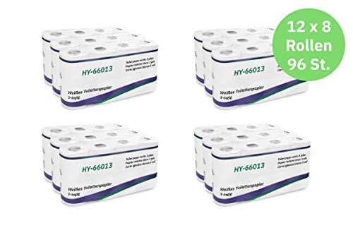 Hypafol Toilettenpapier motivgeprägt, 3-lagig | Vorteilspack mit 96 Rollen Klopapier | extra weich und reißfest | Vorratspack, 12 x 8 Rollen | aus hochwertigem super weißem Zellstoff