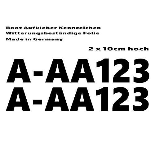 StickerJunkies Bootskennzeichen Bootsnummer Aufkleber 2 x 10cm