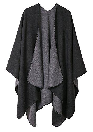 Urban CoCo Women's Color Block Shawl Wrap Open Front Poncho Cape (Series 7-Black)