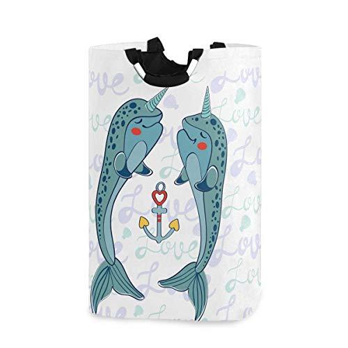 Whale Cesto de la ropa Cesto de la ropa Bolsa de ropa sucia Narwhals Anchor Sealife Fish Cubo de lavandería plegable Papelera de lavado Juguetes Organizador de almacenamiento para dormitorios universi