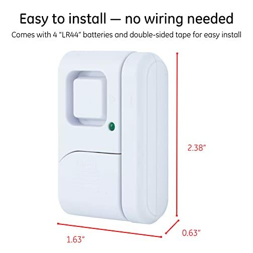 GE Personal Security Window/Door Alarm, DIY Home Protection, Burglar Alert, Magnetic Sensor, Off/Chime/Alarm, Easy Installation, Ideal for Home, Garage, Apartment, Dorm, RV and Office 4