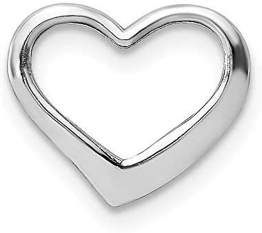 14k White Gold 2 D Floating Heart Pendant Charm Necklace Love Slide Chain Fine Jewelry For Women product image