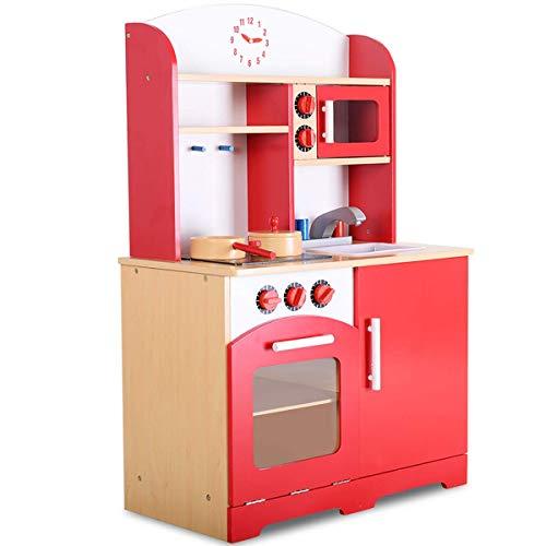 COSTWAY Cuisine Enfant en Bois Jeu d'Imitation Tableau Cuisinière Éducatif 61x33x93cm Rouge