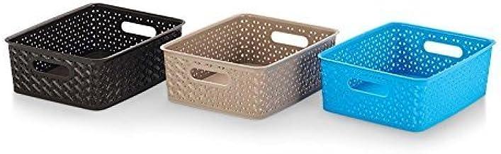 Aristo Multipurpose Small Solitaire Rectangular Tapered Hollow Mesh Basket, Set of 3