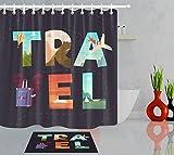 NFDG Diseño de Aviones de Letras de Viaje Creativo Sala de Estar Dormitorio Cocina 3D Imagen Accesorios de baño 40X60CM180X180CM Set